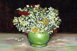 Green Vase with Flowers by Kerri Kane