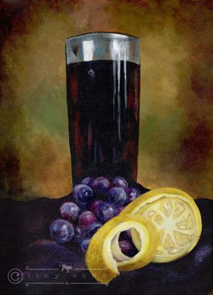 Still life with shiny glass, red and purple grapes, along with a cut lemon - acrylic painting