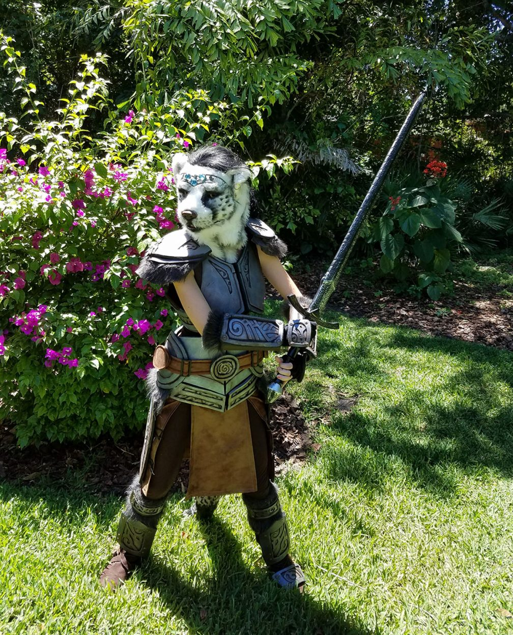 Khajiit from Skyrim cosplay. Our first cosplay attempt. Our yard, pretty bougainvilleas in bloom!