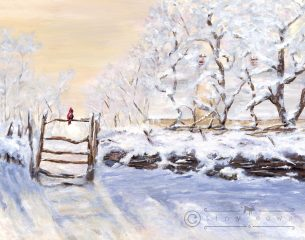 Winter scene with cardinal resting on gate - acrylic painting