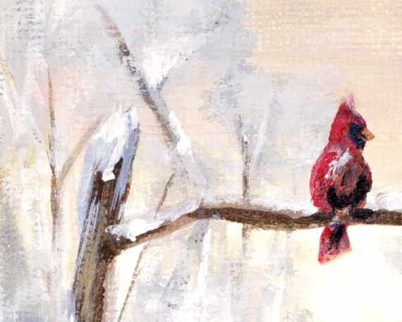 Close up of the cardinal in the painting - looks much cuter in detail-ish
