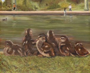 Ducklings All in a Row Acrylic