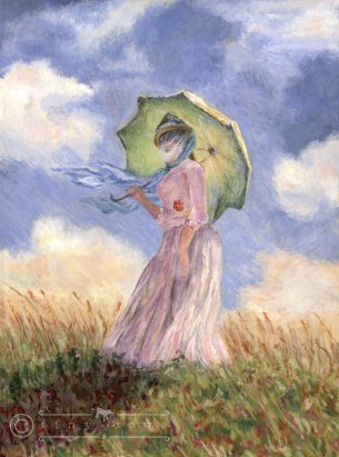 Acrylic painting of Monet's Green Parasol