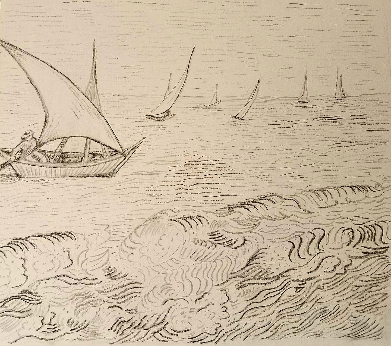 Charcoal drawing of Van Gogh's View of Saintes-Maries