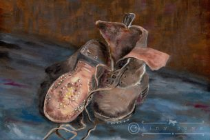 Tired old work boots - acrylic painting after Van Gogh's oil