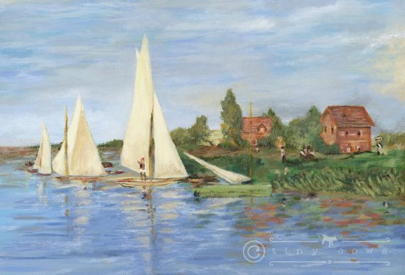 Summer day and sailboats - acrylic painting from Monet's Regatta