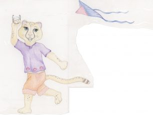 Cartoon cheetah flying a kite drawn with colored pencils for children's party