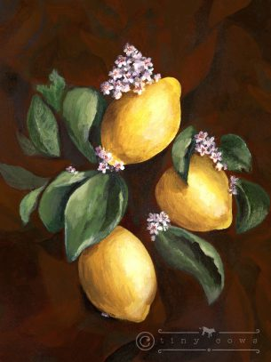 Acrylic painting of three bright lemons and flowers