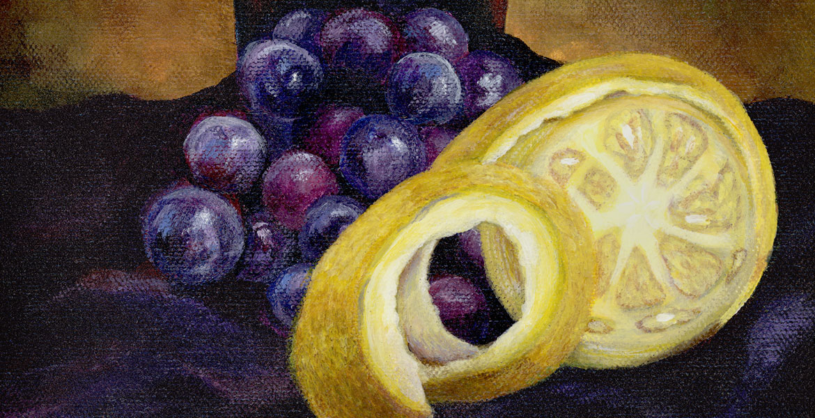 Still life with glass, grapes, and a cut lemon - acrylic painting