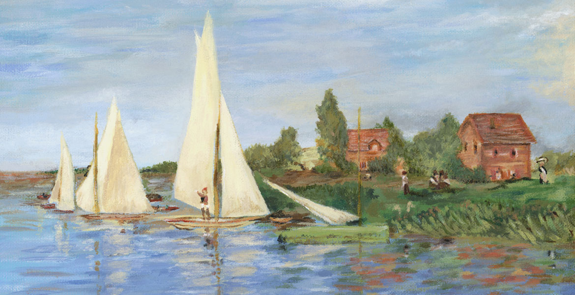 Summer day and sailboats - acrylic painting from Monet's Regatta.
