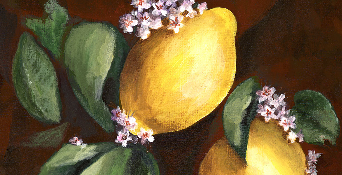 Acrylic painting of three bright lemons, another done with Ginger Cook : )