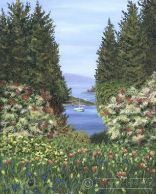 Acrylic painting of the gorgeous Butchart Gardens in British Columbia