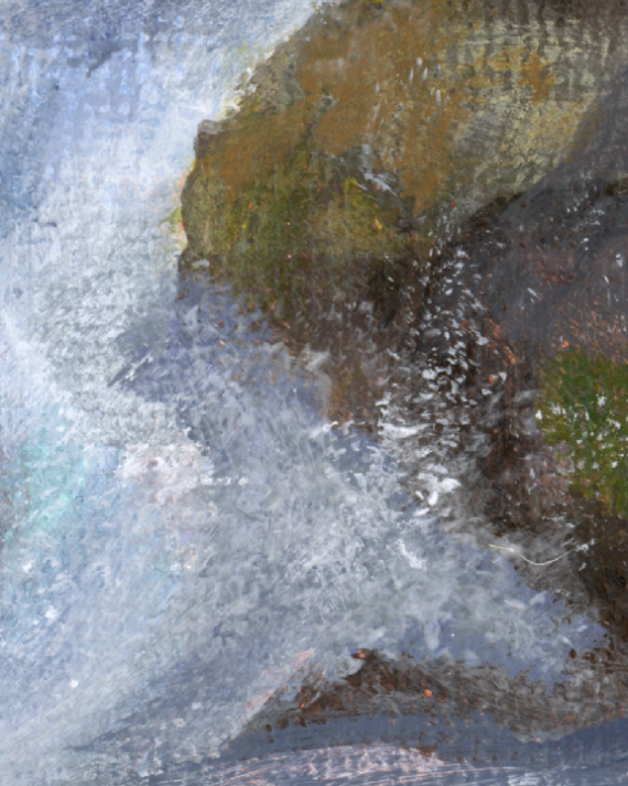 Wave on rock detail. I think there's a hair there on the bottom right corner, or cat fur lol
